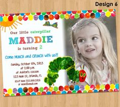 Very Hungry Caterpillar Invitation - Birthday Party Printable Photo Invite Custom Personalized Card Supplies 4x6 or 5x7 on Etsy, $8.00
