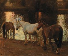 The Ford At Dusk Artwork By Sir Alfred James Munnings Oil Painting & Art Prints On Canvas For Sale Modern Art Paintings, Classic Paintings, Horse Artwork, Horse Paintings, Alfred Munnings, Horse Water, Mediums Of Art, Horse Drawings, Oil Painting Reproductions