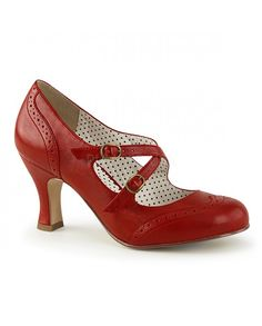 3e6d1d2fbb5f The 3 inch kitten heel of these red vintage Flapper 35 cross strap pump is  so comfortable stepping in ease from the office to fun on the town.