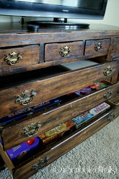 Our Scribbled Walls: A Dresser Turned {Organized} Media Cabinet