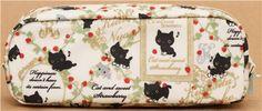 white Kutusita Nyanko pencil case with cats and strawberries 3