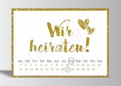 10x Save the Date Karte Wir heiraten gold weiß Hochzeit Vorankündigung Postkarte