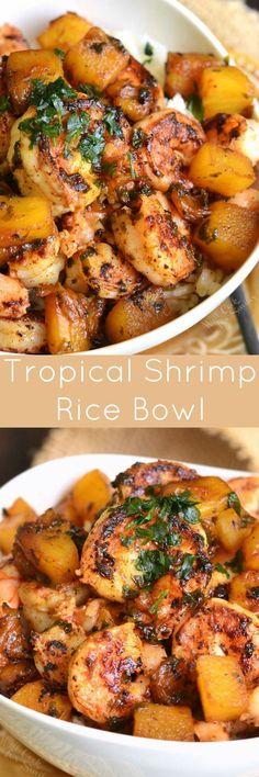 Tropical Shrimp Rice Bowl. Delicious and aromatic dish is made with juicy shrimp, sweet pineapples, and a beautiful sweet, tangy, and spicy sauce.
