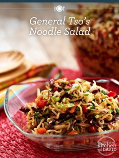 General Tso's Noodle Salad from David Venable QVC Asian Recipes, Healthy Recipes, Ethnic Recipes, Healthy Salads, Yummy Recipes, Noodle Salad, Ramen Noodles, Soup And Salad, Entrees