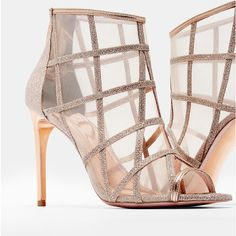 Ted Baker Metallic mesh peep-toe boots ($161) ❤ liked on Polyvore featuring shoes, boots, ankle booties, rose gold, peep-toe booties, zipper ankle boots, zippered ankle booties, mesh boots and metallic boots