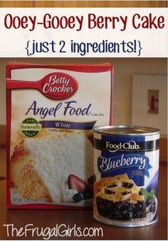 Gooey Blueberry Angel Food Cake Dessert Recipe  {2 ingredients!}