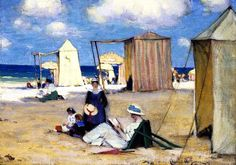 The Beach At Dinard Artwork By Clarence Gagnon Oil Painting & Art Prints On Canvas For Sale Canadian Painters, Canadian Artists, Stretched Canvas Prints, Canvas Art Prints, Clarence Gagnon, Art Prints For Sale, Painting Edges, Museum Of Fine Arts, Illustrations