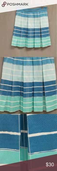 "ANTHROPOLOGIE We HEART VERA Pleated SKIRT sz 4 Super cute striped mini skirt with wide box pleats. Inspired by Vera Neumann's scarf designs, this one is in an ombre stripe of blues and aquas. Cotton pique. Waist is 29"". Length is 19"" from top of waistband. We heart vera Skirts Mini"