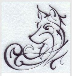 Wolf - would make a great cross stitch pattern - or a tattoo