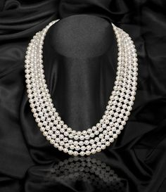 White 5 Strand Freshwater Pearl Necklace