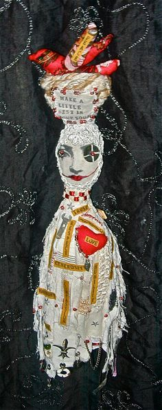 Collectible Cloth Doll Inspirational Quote Feel Good Hand Stitched Mixed Media Soft Sculpture Words Of Value Make A Little Nest In Your Soul