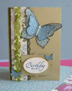 Springtime Vintage Butterfly Card with ruffled ribbon