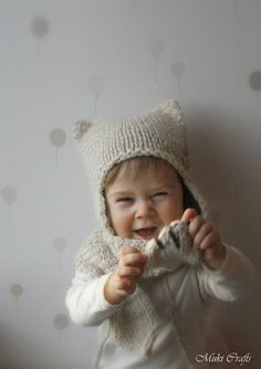 KNITTING PATTERN cat striped earflap hat and scarf set Kitty Cat (toddler, child, adult sizes)
