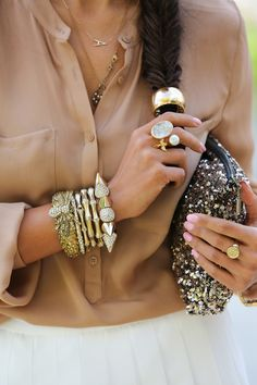the accessorized fishtail, the all gold everything accessories, the sequined bag & the silk top are everything ;)