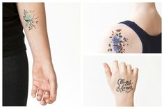 Surprising spring accessory: Beautiful new Tattly Tattoos floral collection now designed by Anna Bond of Rifle Paper