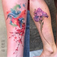 Lavale is a professional tattoo artist based in UK. Specializes in Avant Garde tattoos: watercolour, painted effect, illustration style, dotwork and much more. Watercolour Tattoos, Watercolor, Professional Tattoo, Paint Effects, Tattoo Artists, Hummingbird, Cherry Blossom, Iris, Instagram