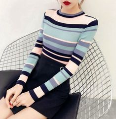 Pastel Stripe Knitted Top