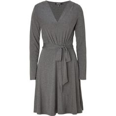 DKNY Flanel Grey Belted Dress ($270) ❤ liked on Polyvore
