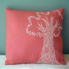 embroidery pillow for livingroom...coral is a bedroom color tho