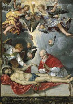 St. Pius V adoring the dead Christ, Michele Parrasio (1572-1575).