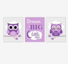 Owls Baby Girl Nursery Wall Art Purple Dream Big Baby Nursery Decor Children Artwork Prints SET OF 3 UNFRAMED PRINTS Owl Nursery, Nursery Decor Boy, Nursery Wall Art, Nursery Ideas, Nursery Room, Baby Room, Owl Wall Art, Baby Wall Art, Purple Teal