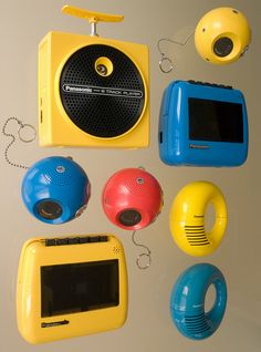 Panasonic portable music players of the late sixties-early seventies, including Toot-a-Loop AM radio, Panapet AM radio, Take-n-Tape cassette recorder and Dynamite-8 8-track tape player. Image by Michael Dant.
