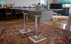 Lucite Acrylic dining table - TAVOLI PRANZO IN PLEXIGLAS | Tavolo trasparente  in plexiglass 14.mod.    MERCURY   | Tavolo in plexiglas cm.150 x 75  h.76 - 2 basi MERCURY fusto diam.cm.12 - piani cm.40 x 40 / 35 x 35 sp.mm.25 - piano in PLEXIGLAS sp.mm.25