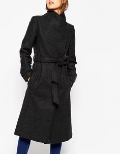 Image 3 of ASOS Coat With Funnel Neck And Belt in Wool