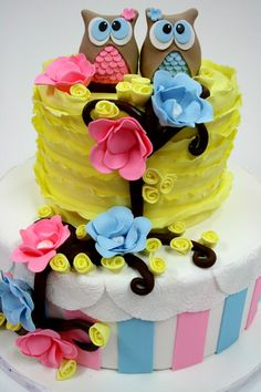 LATES BABY SHOWER CAKES | Twin-Baby-Shower-Cakes-NJ---Owls-Custom-Cakes