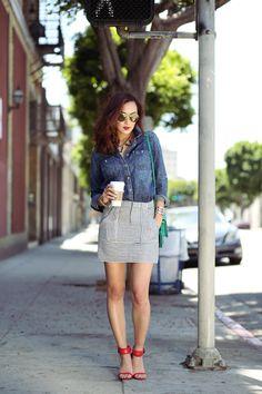 Casual Chic   Madewell striped black and white skirt, denim chambray shirt, red sandals, aviator sunglasses