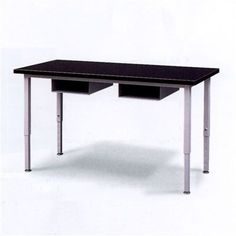 "Fleetwood Adjustable Height Steel Frame Science Table with Black Epoxy Resin Top and Book Storage Size: 72"" W x 24"" D, Frame Color: Black"