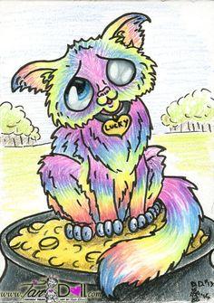 Artist TanDoll ORIGINAL Drawing ACEO Sketch Art Card 13 Lucky Rainbow Tabby Cat  #Cartoon