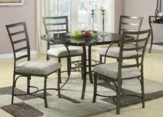 Daisy Black Faux Marble 5Pc Dining Set (70057Sq)