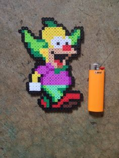 Krusty The Clown The Simpsons Perler Bead Art Ravers EDM PLUR Cuff Pendant | eBay