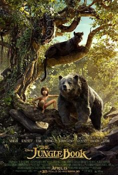 """""""THE JUNGLE BOOK"""": After a threat from the tiger Shere Khan forces him to flee the jungle, a man-cub named Mowgli embarks on a journey of self discovery with the help of a panther, Bagheera, and a free-spirited bear, Baloo. This is the 2016 version, featuring voices of Bill Murray, Ben Kingsley and Scarlett Johansson."""