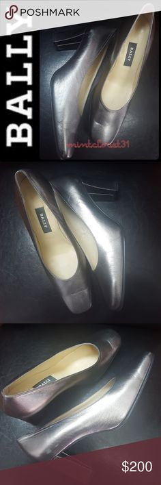 Bally Switzerland Leather Pumps Bally Switzerland Designer Shoes in Luxurious Leather Upper Metallic Greyish Shade! Features a Minimalist Style with a Classic Designer Look! Bally Switzerland Icon Since 1851!  Made in England with Beautifully Covered Heels about 3 Inches! Used in Good Condition! Size US 8 1/2 Bally Shoes Heels