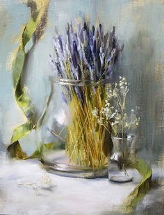 White Linen and Lavender by Pamela Blaies in the FASO Daily Art Show Lavendar Painting, Pamela, Wedding Linens, Still Life Art, New Artists, Flower Art, White Flowers, Painting & Drawing, Oil On Canvas