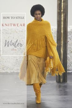 The latest runway trends in knitwear range from oversized turtleneck sweaters with big sleeves to super lux sweater dresses with typographic stitching. #SweaterWeather is officially in session and one of the things I'm most excited for is cozy knitwear. Cropped iterations with cool details and high necklines are some of the trends we will look at. Plus, 7 styling tips to make these trends your own. Sweater Dresses, Sweater Weather, Styling Tips, Turtleneck, Knitwear, Stitching, Stylists, Runway, Bell Sleeve Top