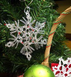 Christmas Silver Snowflake Wire Crochet by MegsCrochetJewels, $28.00