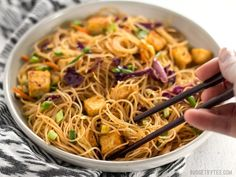 These Singapore Noodles with Crispy Tofu have a bold flavor and vibrant colors thanks to shredded vegetables and a bright curry sauce.