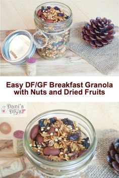 This granola cannot be easier! It's gluten free and dairy free and uses up what you most likely already have in your pantry and if you don't have some of the ingredients this recipe is super forgiving!