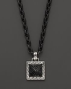 """John Hardy Men's Sterling Silver Lava Pendant Necklace with Black Sapphire, 22"""" 