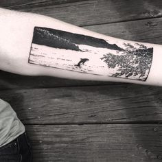 Amazing island scene and orca tattoo by @violet_tattoo_pdx