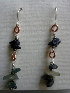 Purple Goldstone and Green Chip Dangle Wire Wrapped Earring by BohemianGlitzCo on Etsy