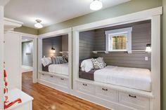 Cottage Guest Bedroom with Amerock Kane Pull, Built-in bookshelf, Minka lavery 1 light semi-flush mount, flush light, Paint 1