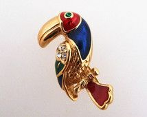 Attwood and Sawyer Vintage Toucan Bird Brooch Enamel and Rhinestone