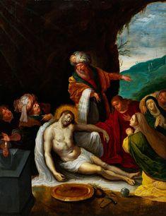 """BEWEINUNG CHRISTI Öl auf Eichenholz. 41,5 cm x 31 cm. Verso frühe Inventarbezeichnung in Schwarz """"H/No498"""". Mehrfigurige Szenerie des Neuen Testaments...."""