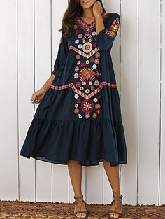 Embroidered Tiered Midi Dress - PURPLISH BLUE M