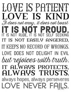 Love is Patient  love is kind. Free printable in 3 color options. 1 Corinthians 15;4  Black lbe. inc