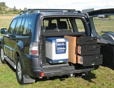 Rear Storage Drawers. Fridgepack 3 with Drawer Top Table and Pull Out Table. LWB Pricing Aluminium $2510 Galvanised $2160 http://www.offroadsystems.com.au/pricelist_Pajero%20NM_NT.html